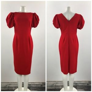 Asos Red Puff Sleeve Dress Size S